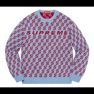 Supreme S Repeat Knit Sweater Light Blue Red SS21